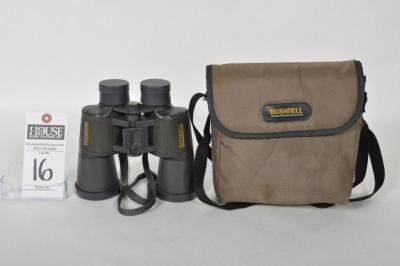 BUSHNELL Spectator Series Model #13-7710 Binoculars. 10x50WA with an Insta Focus Lever & Coated Lenses. Soft Carrying Case and Len Caps Included