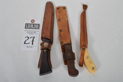"(3) Vintage Hunting (1) WESTERN S-W766 W/ Leather Sheath, (1) 10"" Knife W/Leather Sheath, & (1) IMPERIAL Frontier 422 Skinning Knife W/ Leather Sheath"