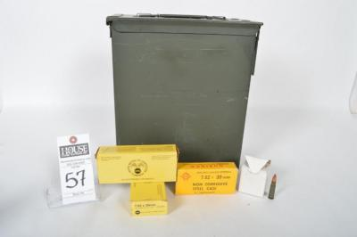 Four (4) 7.62 x 39mm Pcs. (1) Ammo Can, (1) Ammo in Ammo Can Unknown Amount, (1) Box UMC 20 Cartridges, & (1) Box NORINCO 20 Cartridges