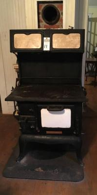 Cast Iron Wood Burning Stove by ATLANTA STOVE WORKS Atlanta GA w/Top Working Bread Warmers. Small Broken Right Back Foot Overall in Good Condition