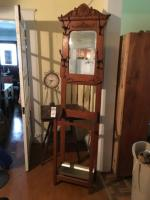 Three (3) Items, (1) Spindle Legged Two Tier Side Table, (1) Wood Hall Tree with Tin Boot Tray, & (1) AUSTIN CLOCK Company Metal Wall Clock