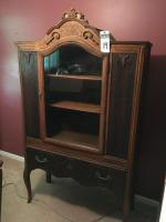 1920's Wood China Cabinet Stylized Pediment, Chippendale Legs, One Utensil / Napkin / Placemat Dovetailed Drawer