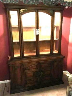 UNITED FURNITURE 1970's Solid Wood China Cabinet and Anniversary Clock. Plenty of Room for All Your China Needs W/2 Glass Shelves, Cabinet, & Drawer