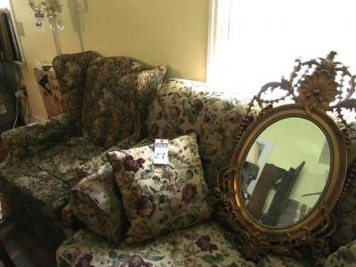 Three (3) Pcs. (1) Floral Pattern Wing Back Chair, (1) Rose Pattern Loveseat with Two Throw Pillows, & (1) French Victorian Style Bronze Gilded Mirror