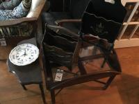 Five (5) Vintage Pieces, (1) Demilune Table, (1) Butlers Tray, (1) Bulova Plate Wall Clock, (2) Wooden Magazine / Newspaper Rack
