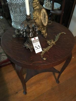 (5) Parlor / D�cor Items (1) Tiger Oak Round Side Table Some of the Veneer is Lifting, (3) French Victorian Style Pieces, & (1) Cut Glass Table Lamp