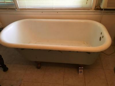 One (1) Cast Iron Claw Foot Bath Tub