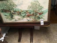(4) Pcs.,(1)Large Pastoral Scene Framed Applique, (1)Duncan Phyfe Style Dining Room Table, (1)Vanity Chair, & (1)Vintage School House Chair