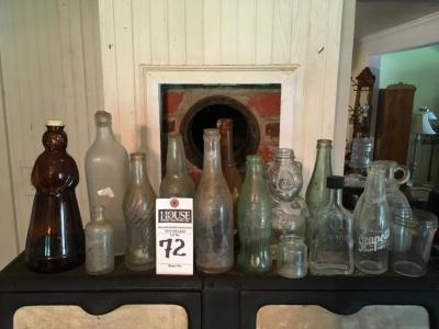 Fifteen (15) Vintage and Antique Collectible Glass Bottles; AUNT JEMIMA, FEDERAL, JOHN WALKER & SONS, PIGGY Bank Syrup, DR.PEPPER, COCA-COLA & More