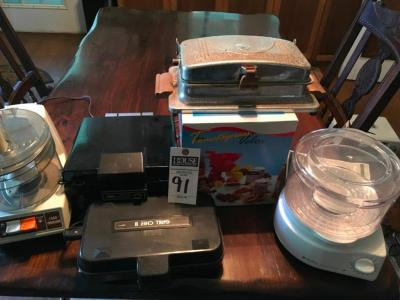 (6) Pcs., Vintage Kitchen, Waffle Maker D�cor Only, Tomato press Velox, BLACK & DECKER Food Steamer & Rice Cooker, Grill Chef & GE Food Processor