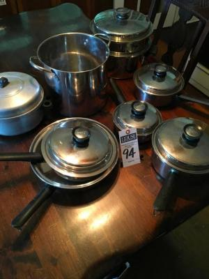 (8) Pcs. Vintage Pots and Pans, Six QUEEN Pots and Pans from Amway, One Stock Pot, One Possible Aluminum Pot with Lid