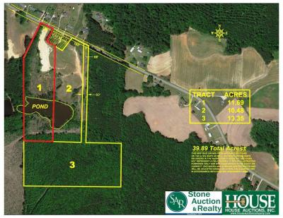 11.69 +/- Acres - 4300 block of Hopkins Road, Middlesex, NC 27557 – with cleared acreage / cropland, pond & 170 +/- feet of highway frontage