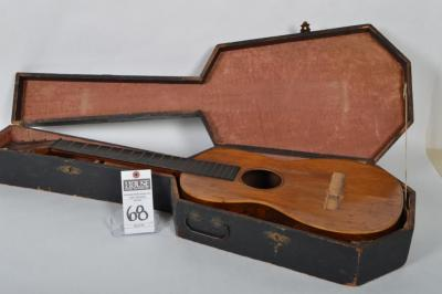Antique Mid-19th Century Ashburn Acoustic Guitar W/ Wood Coffin Case Sold by FIRTH POND Co., Light Cracking and Guitar Will Need Some Restoration Work