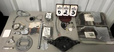 (17) Motorcycle Parts, Two KURYAKYN #8208 Chrome Oil Line Cover, Ignition, Reflectors, Triple Tree Top Clamp, Medallion, Seat Kits, and More