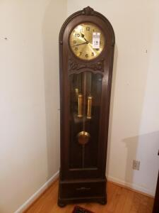 ETZOLD and POPITZ GERMAN Dark Oak Dual Chime Grandfather Clock - Excellent Working Order! Made Between 1920 - 1925.
