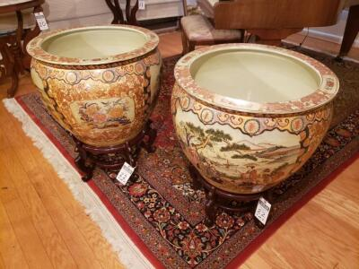 Set of 2 - Chinese Porcelain Floor Vases, Artwork Features a Courtyard Scene, Panels of Lotus Blossoms and Floral Patterns. Glass Tops Included