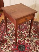 Antique Gettysburg End Table with Tapered Legs, Dovetail Drawer, Made in Pennsylvania, Height 26 in. Width 18 in. and Depth 26 in.