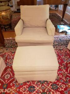 D. Becker & Sons Upholstered Chair & Ottoman