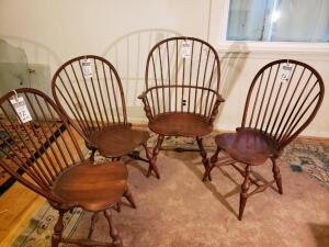 Set of 4 Windsor Chairs by DR Dimes Includes the Winthrop Windsor Armchair and Three (3) Bamboo Bowback Side Chairs. Most Popular Windsor Chair.