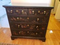 Asian Oriental Chinese Wooden Black Lacquer Dresser