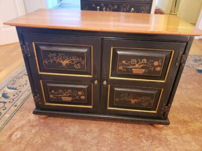 Asian Oriental Chinese Wooden Black Lacquer Cabinet Chest