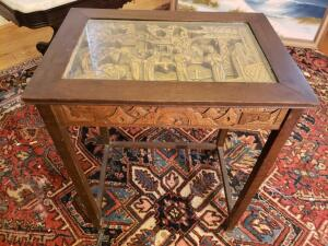 "Oriental Wood Vintage Ornate hand carved table w/ glass top - 25"" Tall"