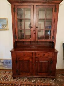 Vintage China Hutch Cabinet Curio Buffet With Glass Doors 2 Piece Cochrane Co