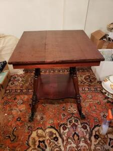 "Antique Wooden End Table with Walnut Tapered Legs, Drop Side Table. Measures 25.87"" x 23.5"" x 22"""
