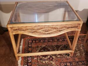"Bamboo Outdoor Glass End Table - Measures 20"" x 25"" x 17"""