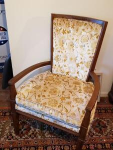 Yellow Floral Antique Chair #1