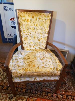 Yellow Floral Antique Chair #2