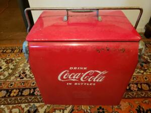 Vintage 1950's era Coca Cola Metal Cooler with Tray - remarkable condition for its age