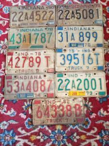 Assorted Indiana License Plates, Vintage license plate collection from 1967 - 1980.