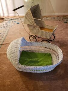 Antique Baby Carriage and Moses Style Baby Basket