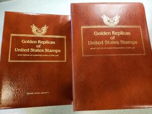 Golden Replicas of United States Stamps (22Kt Gold Surfaces) There are 105 gold stamps ranging from 1918 to 1985-87, through 1992-1994.