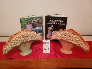 Three (3) Psc: 1) Set of Green and Pink Royal Haeger Pottery Basket Gray Floral Fan Vases 2) AMERICAN DINNERWARE Encyclopedia 3) Fenton Art Glass Valu