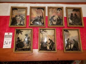 Seven (7) Psc. Framed Glass Art Work including raised or convexed glass in print.