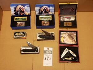 Assorted Knives: Largemouth Bass Serrated Knife Set, New Choppers Folding Pocket Knife, Collectors Native American Feather Knife, Chipaway Knife, Blac