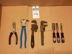 Four (4) Pcs: Tool Set 1) Three Psc.Chisel Set 2) Set of 10 in. Heavy-Duty Pipe Wrenches 3) End Nipper Fractional Caliper 4) Long Nose Pliers