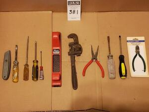 Assorted Tools: Screwdrivers, Box Cutter without Razor, Master Mechanic Pro-Cut Plane,10' Pipe Cleaner, Long Nose Pliers, Two Flat Head Screwdrivers,