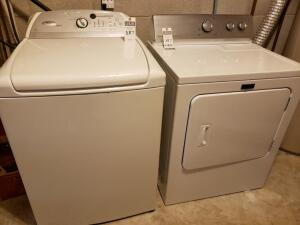Whirlpool Cabrio Washer and Electric Maytag Centennial Dryer Set - High capacity, eco friendly.