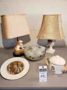 "Five (5) Psc: 1) Clay Decorative Tea Pot 6"" Tall 2) Lenox Egyptian Serving Plate 3) Glass Leaf Bowl with 12 Cups 4) Colonial Lamp 5) Lion Lamp"