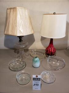 "Lamps & Crystal Lot - Includes the following: Red Ceramic Lamp 21"" Tall and a Glass Lamp 24"" Tall. Also including are Five (5) Psc Crystal Bowl/Server"