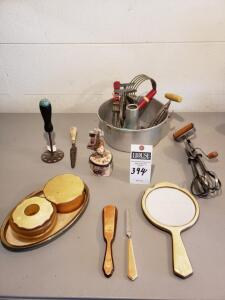 Vintage Kitchen & Bathroom Utensils with Antique Decorative Pottery Colonial Lady Jewel Box.
