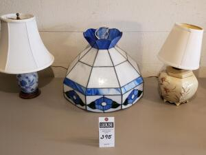 Three (3) Psc: 1) Blue and White Stained Glass Hanging Light 2) Tan/Brown Wheat Lamp 3) Blue Flower Lamp