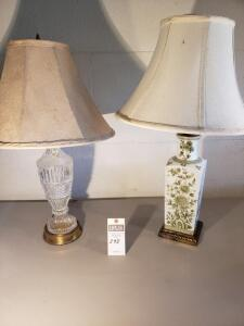 "Three (3) Psc: 1) Set of Green Flower/Leaf Lamps 29"" Tall 2) Crystal Glass Lamp - 27"" Tall"