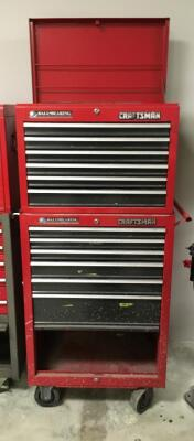 CRAFTSMAN Portable Ball Bearing Equipped Tool Chest with 12 Drawers 1 Bottom Cabinet and Top Tray In Good Condition No Key - 59 in.x 26 in. x 18 in.