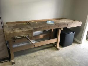 "LW STEINER Made in Germany Original Antique Work Bench with Wood Vise, Back Trough, & a few tools this table is screaming for a project 84""x29""x33.5"""