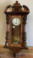 Vintage E. INGRAHAM Walnut Drop Wall Clock With Upper and Lower Finials Chimes when Wound Unsure of Working Condition