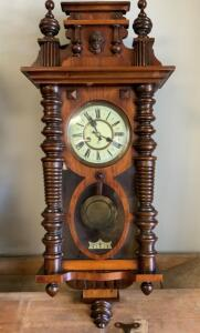 Antique late 19thCenturyGUSTAV BECKER 2Piece Porcelain Dial Walnut Case Turned Columns w/Upper&Lower Finials Drop Wall Clock Unknown Working Condition